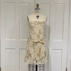 Bird by Juicy Couture creme lace strapless dress